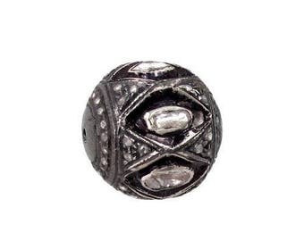 Victorian style Rose cut Pave diamond large polki diamond 12mm bead Ball jewelry making / jewelry finding/ bracelets and necklace - PJBE2026