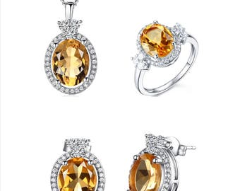 925 stearling silver citrine jewery set
