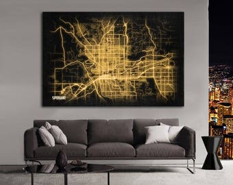 SPOKANE Washington Night Lights Map Large Horizontal Wall Art Map Spokane Washington Modern Art Neon City Street Map of Spokane NLM