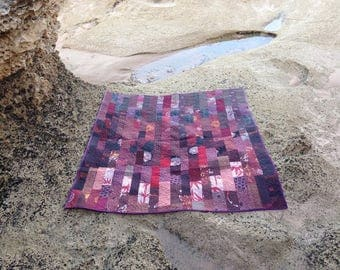 Kimono Silk Quilt in Burnt Umber, Red Brown, Rich Red, Russet and Maroon ~19~