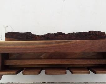 Walnut Wall Wine Rack - Natural Bark Edge