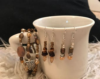 Earth tones handmade bracelet and earring bundle