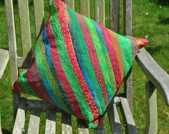 Recycled sari silk cushion multi-coloured