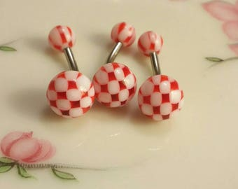 Belly button ring checkered belly ring red belly ring navel ring navel piercing 14G belly ring body jewelry