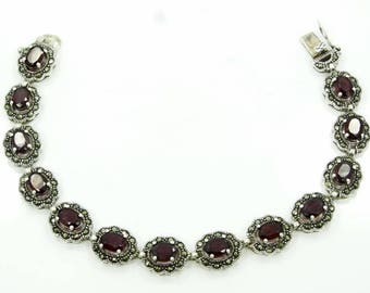 9.75ctw Genuine Amethyst & Solid Sterling Silver Bracelet W/Genuine Marcasite Accents
