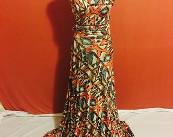 Tribal print wrap dress