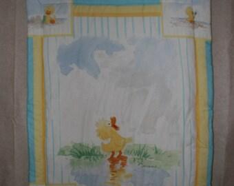 Suzy's Zoo Duck Giraffe turquoise blue yellow Panel Quilt baby blanket comforter cotton toddler