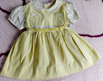 Best original vintage 1940s 1950s toddler little girl's yellow w lace summer Dress New never worn size 2 3