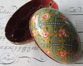 Vintage Tin Metal Easter Egg Container Classical Faberge Design