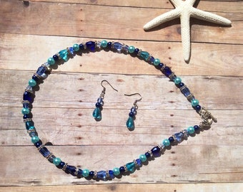 Blue necklace set, earrings, blue, glass pearls, glass beads, chrystals, silver, gift, Mother's Day, birthday, spring