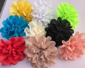 Large Eyelet Collar Flower in Coral, Blue, Yellow, Tan, Cream, White, Black, Peach or Neon Green