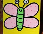 Baby Butterfly Minipop 6x6 Painting by Jelene
