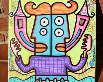 Twin House Multiple Personalities Poptoon Painting 12x12 by Jelene