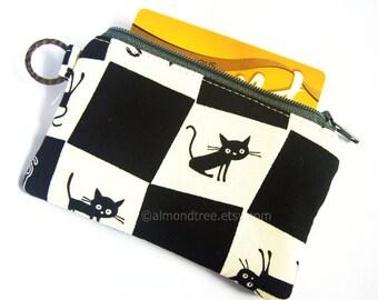 Cat portefeuille, gift for her, zippy case, zipper coin purse, id1340985, moneybag, small zip pouch,  women wallet, portemonnaie,