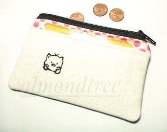 Cute kawaii pig, coin purse, portefeuille, women wallet, cardholder id173901p2, stamp, hand painted, travel organizer, zipper pouch