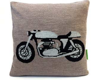 The ROCKER Cafe Racer Pillow - Mods vs Rockers - Knitted Cushion