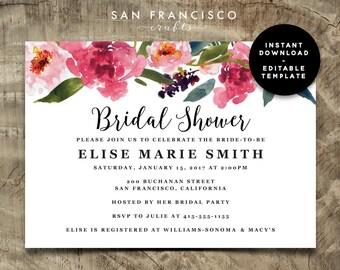 Bridal Shower Invitation INSTANT DOWNLOAD | Watercolor Floral, Pink, Invite | Elise Collection | PDF File, Editable, Printable