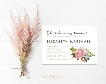 Floral Twins Baby Shower Invitation |  Printable Baby Shower or Bridal Shower Invite, Pink | EMMA  Collection | Digital PDF File