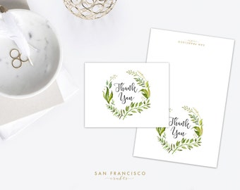 Thank You Card - Ivy, Greenery, Floral, Leaves, Eucalyptus, Watercolor - A2 - Folded Blank Cards - PDF Instant Download