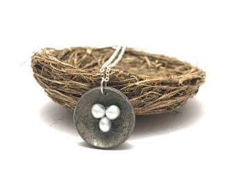 Nest and eggs necklace // nesting necklace with foreign coin nest and fresh water pearl eggs // great gift for mom