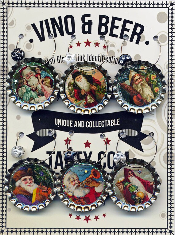 Santa Claus Christmas wine beer and drink charms