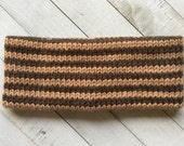 Gift Under 15//Winter Headband Knit Ear Warmer Warm Wool-Acrylic Blend in Brown Stripes//Ready to Ship Gift for Her or Him