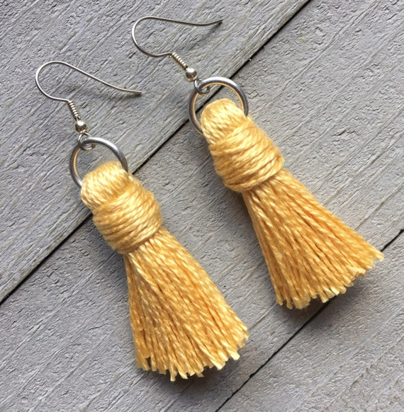 Yellow Tassel Earrings, Dangle Earrings, Boho Chic Earrings, Bohemian Earrings, Simple Tassel Earrings, Boho Earrings, Colorful Earrings