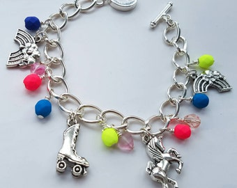 Lady Sparkles Roller Disco Charm Bracelet with roller skate, unicorn and rainbow charms and neon beads