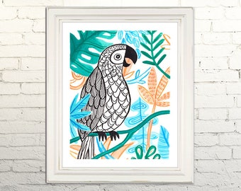 PARROT Digital Art Print Watercolor Illustration Beach Summer Nursery Clipart Gallery Tropical Beach Bird Feathers Leaves Instant Download
