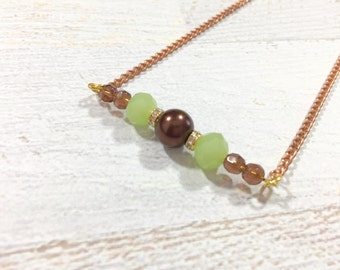 Beaded Bar Necklace, Green and Brown Necklace, Earthy Layering Necklace, Minimalist Necklace, Bohemian Necklace, KreatedbyKelly