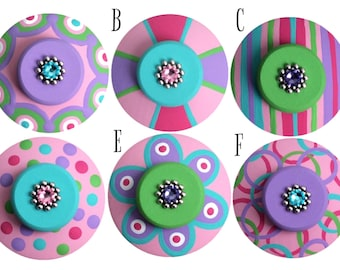 Hand Painted Drawer Knobs Kids Knobs Jeweled Decorative Colorful Dresser Knobs Girl Knobs Baby Room knobs Drawer Pulls Decorative Knobs