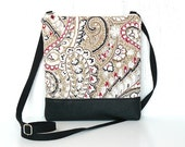 Small Crossbody Bag, Fabric Cross Body Purse, Zipper Hip Bag - Fanciful Paisley in Red, Beige and Black