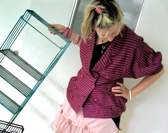80s Italian Silk Batwing Blouse Italian Shantung Stripe Shirt - 1980s Vintage Jacket Top - Fuchsia Hot Pink Neon Stripes  - S to M