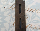 Letter B Antique Letterpress Wood Type Printers Block