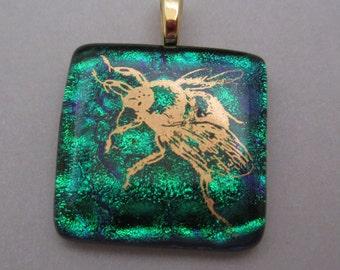 Fused Dichroic Glass Pendant Emerald green with 22k gold bee dichroic jewelry fused dichroic jewelry pendant