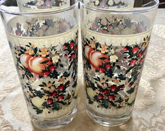 Set of 4 Vintage Water Tumblers Highball Glasses Ornate Fruit and Flowers Peach Strawberry Pears Fancy Glasses Circa 1980's Clear Glass