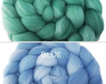 CTA SAL Pre-Order - Handpainted Polwarth Wool Roving - 4 oz. DENALI Solids Blue and Seafoam- Spinning Fiber