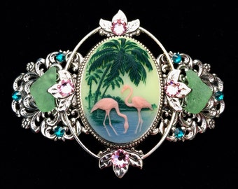 Cameo Barrette Flamingo and Palm Trees  with Beach Glass and Crystal Accents