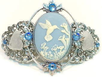 Cameo Hair Barrette Blue and White Hummingbird with Beach Glass and Crystal Accents