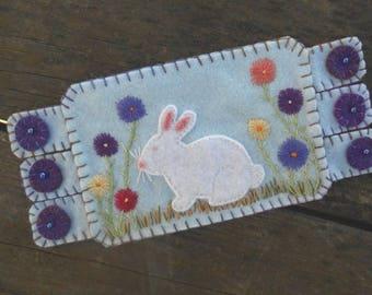Bunny Rabbit, Bunny Fiber Art, Garden Art, Spring Flowers,  Flower Embroidery, Coffee Coaster, Mug Rug