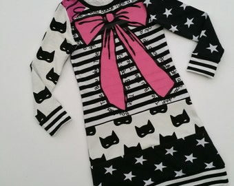 Size 6+ upcycled girls bow dress, girls clothing, children's clothing, kids clothes, kidswear, girl, holiday,pink, monochrome,upcycling
