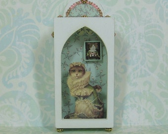 Miniature Shadow Box In Pale Green with Cat in Ruffles
