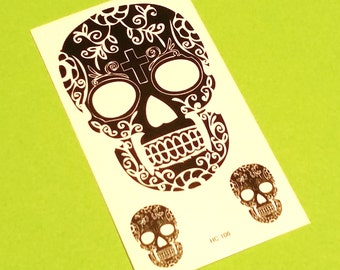 Sugar Skull Trio Cross Day of the Dead Fangs Kitsch Sheet Black and White Temporary Tattoo