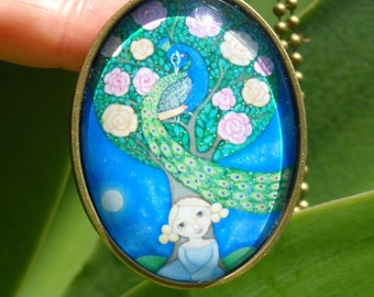 Peacock Girl Necklace Glass Tile Oval Pendant Peacock Jewelry Tree Jewellery Gift for friend Gift for sister Girl and Peacock Art Pendant