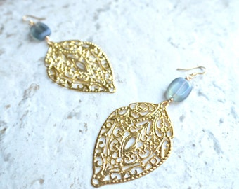 The Anita- Gold and Blue Czech Glass Earrings