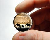 Glass Cabochon -  Elephant Family  - Live Love Laugh - for Jewelry and Pendant Making