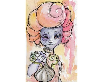 Original Watercolor Illustration - weird garlic girl  Art by Ela Steel - small yellow orange pink  lowbrow art