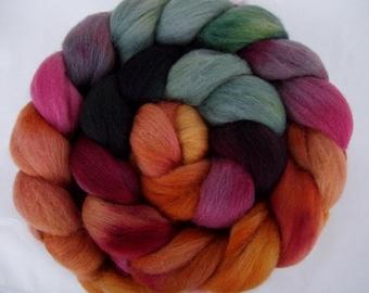 Merino wool roving, no.7, merino spinning fiber, hand painted merino roving, wet felting wool, nuno felting wool, merino felting wool, 3.5oz