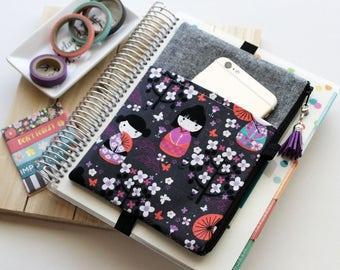 Sakura planner cover - geisha girls - planner band - black pen pouch - planner cover - sakura bag - tassel charm - purple pencil pouch