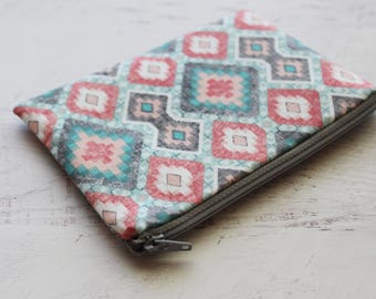 Bohemian print zippered pouch - smalll zipper pouch - southwest print bag - cute wallet - small travel bag -  bridesmaid proposal bag